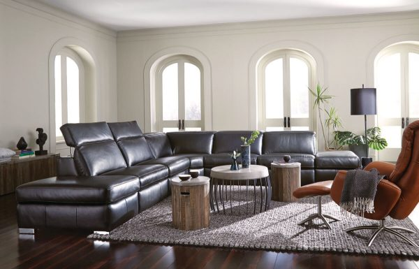staged motion sectional product gallery image in brown