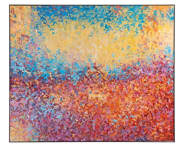 john richard colorful yellow blue red magenta original oil canvas art