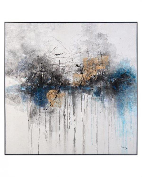 john richard abstract blue and gold smokey gray art