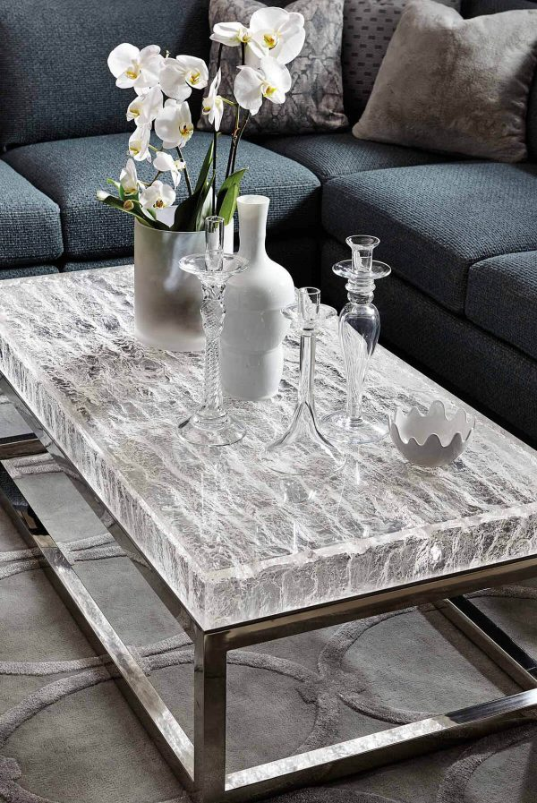 staged arctic cocktail table