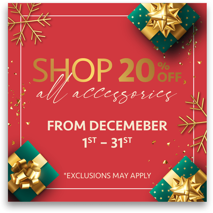 20% off All Accessories 2020 (Valid From: December 1, 2020 to December 31, 2020)